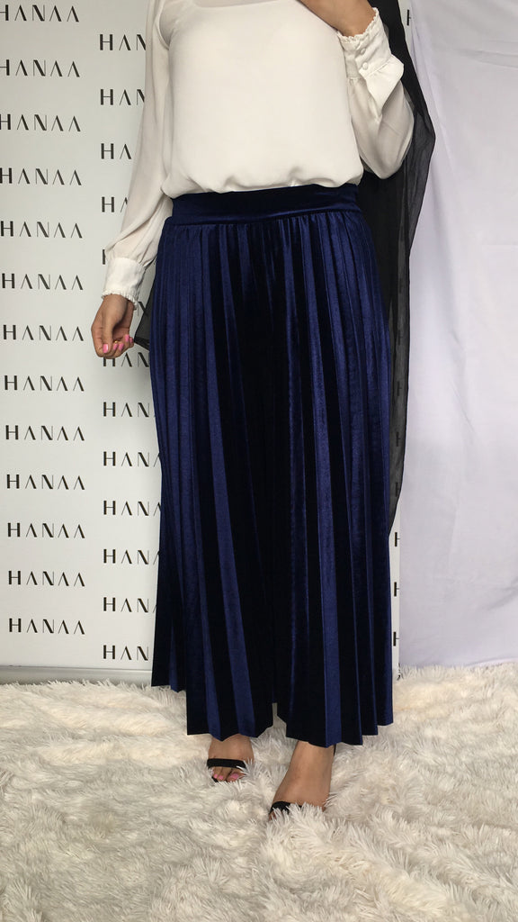 VELVET PLEAT TROUSERS - Navy