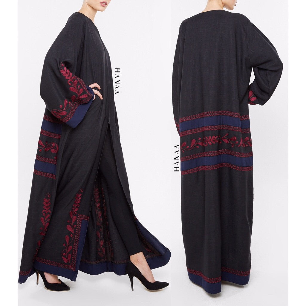 Noora Embroidered Open Abaya
