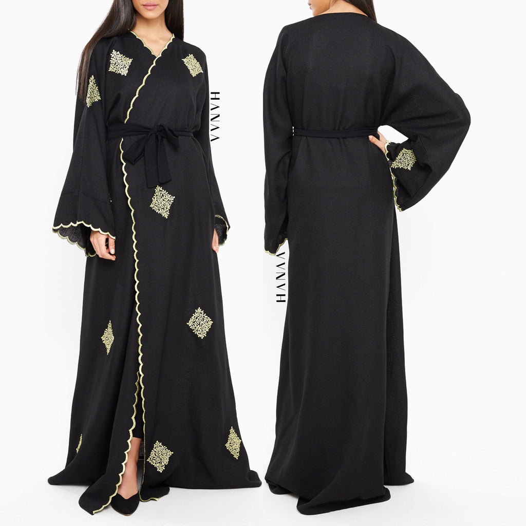 Hawa Embroidered Open Abaya