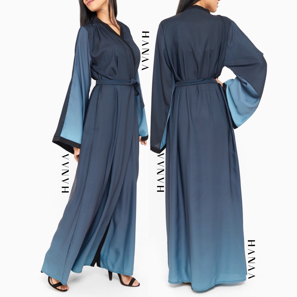 Ombre Silk Open Wrap Abaya - Teal