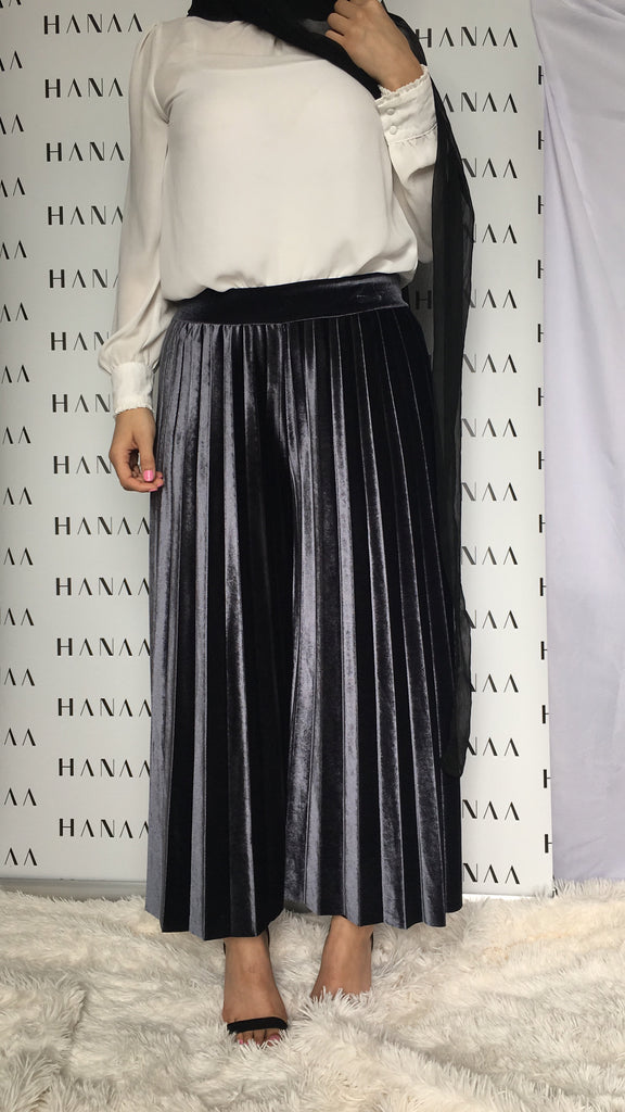 VELVET PLEAT TROUSERS - Grey