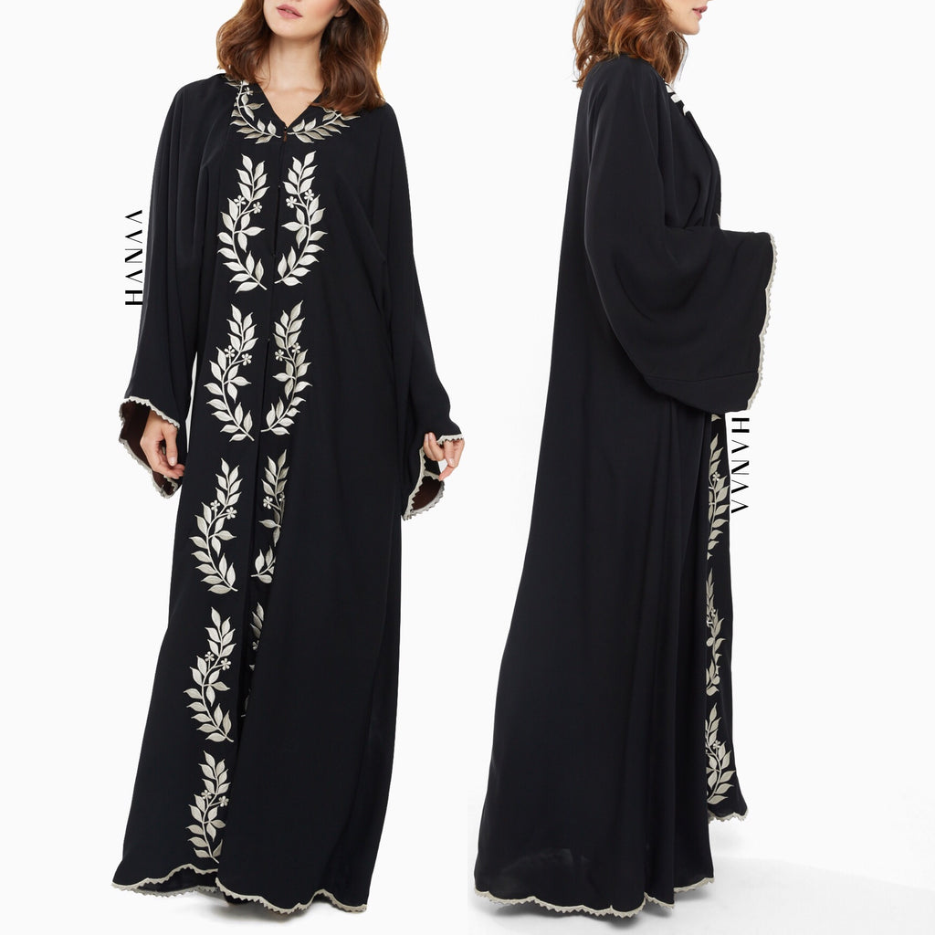 Salma Embroidered Open Abaya