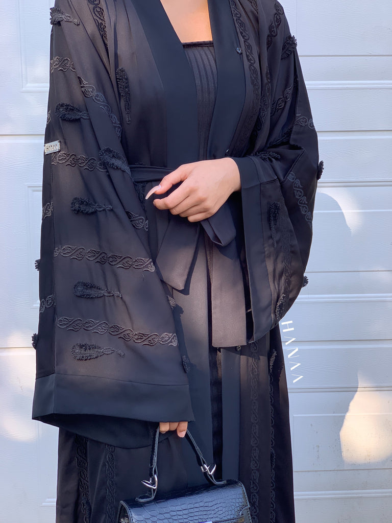 Naadia Embroidered Open Abaya - RTD