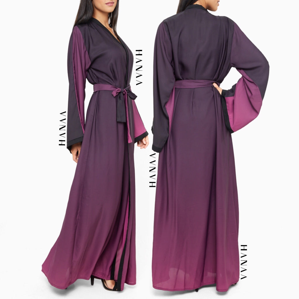 Ombre Silk Open Wrap Abaya - Pink