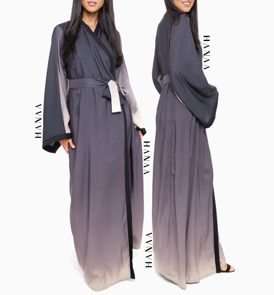 Ombre Silk Open Wrap Abaya - Grey