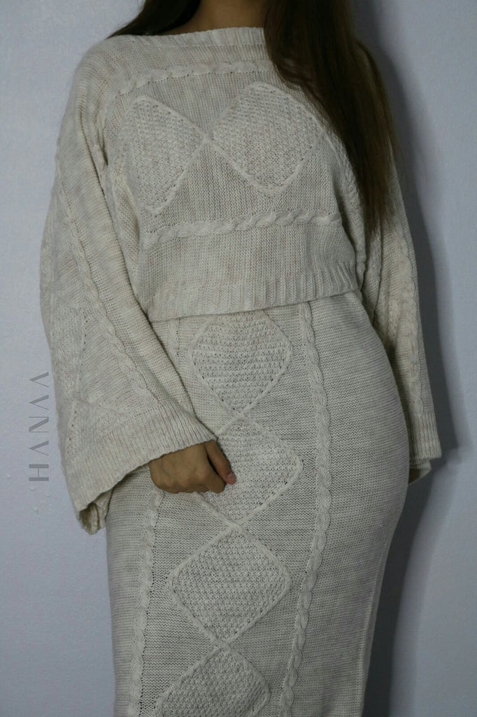 FLARED SLEEVE KNIT MIDI CO ORD SET - Cream