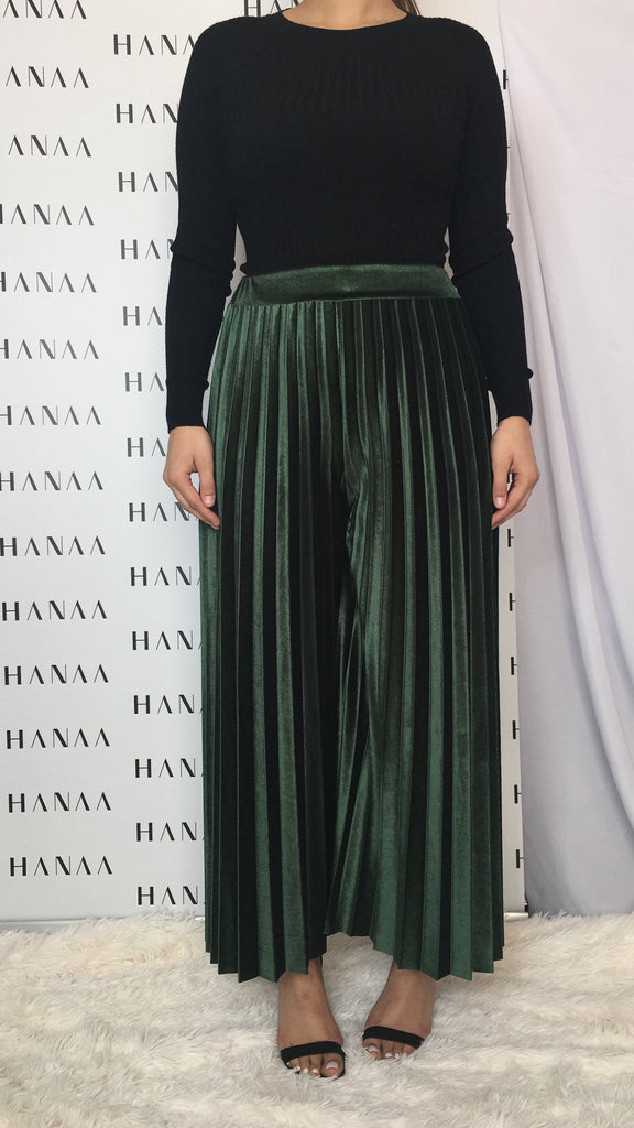 VELVET PLEAT TROUSERS - Green