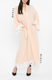 Yusra Lace Open Abaya - Everlasting Peach