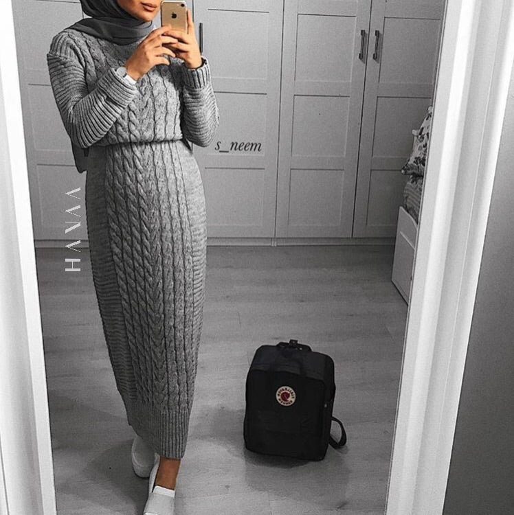 CHUNKY KNIT MAXI JUMPER - Grey