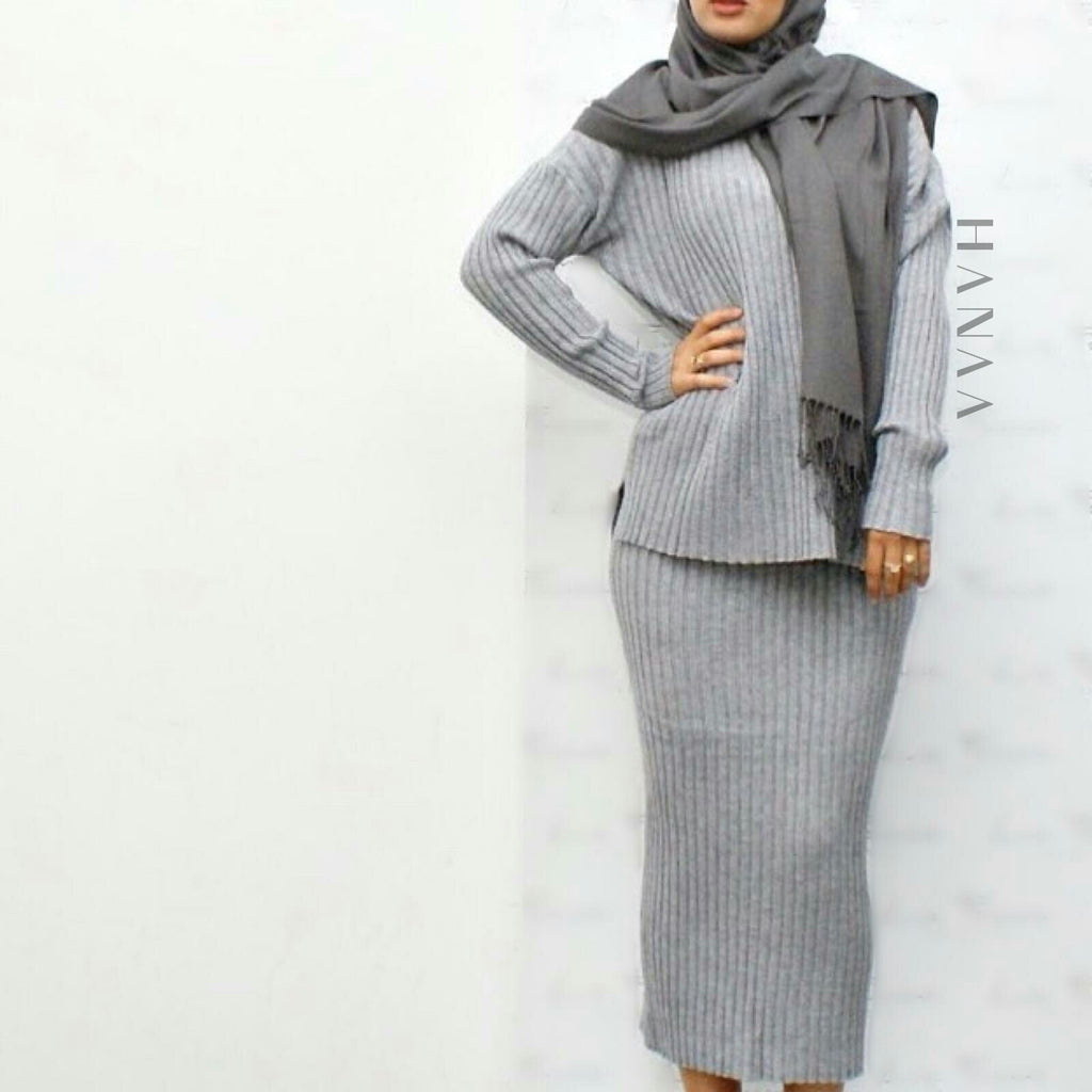 RIBBED CO ORD SET - Grey