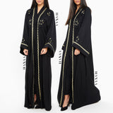 Adilah Rose Embroidered Open Abaya