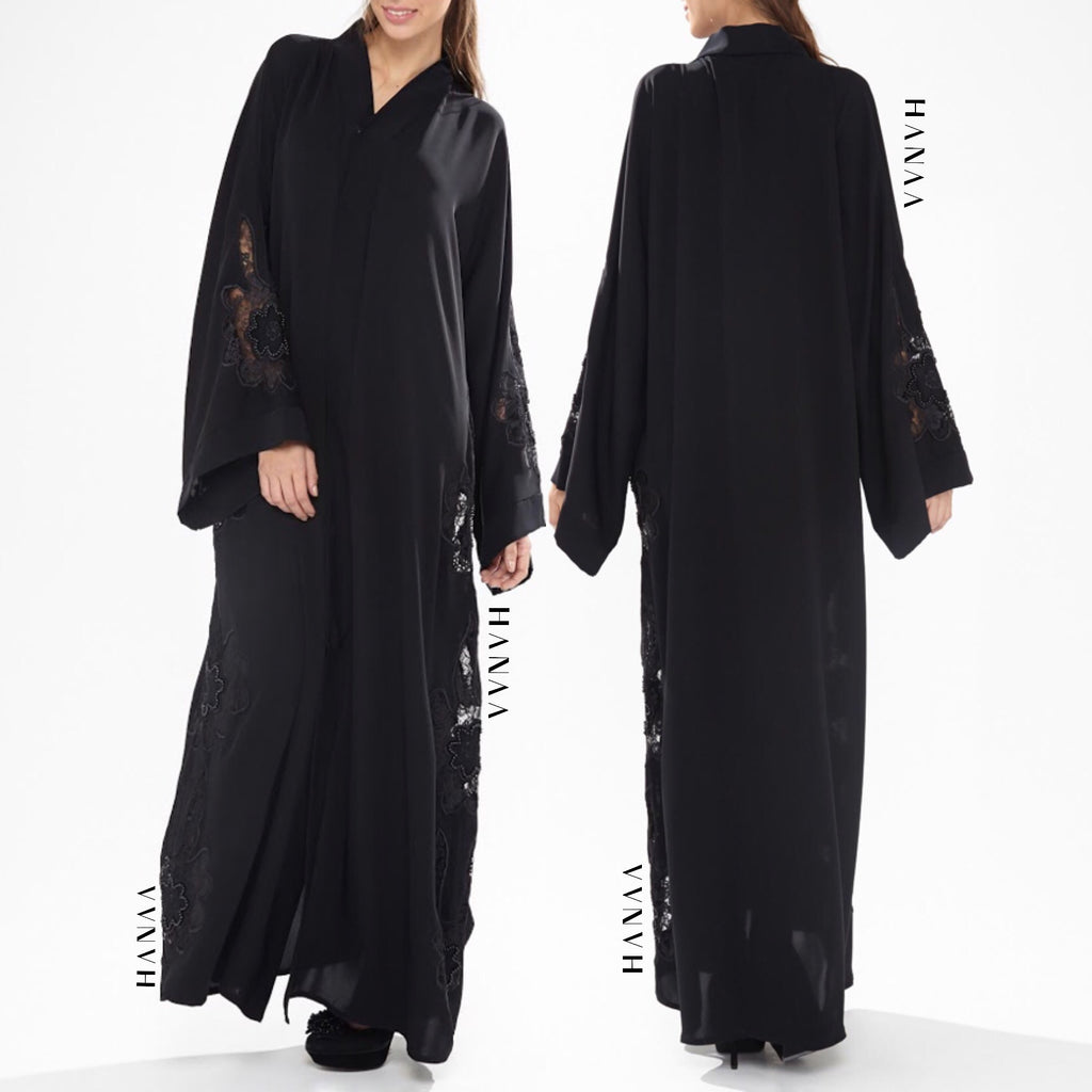 Huda Embroidered Lace Open Abaya
