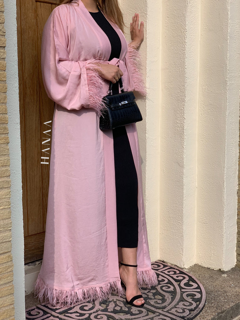 Bella Open Abaya - Blush Pink