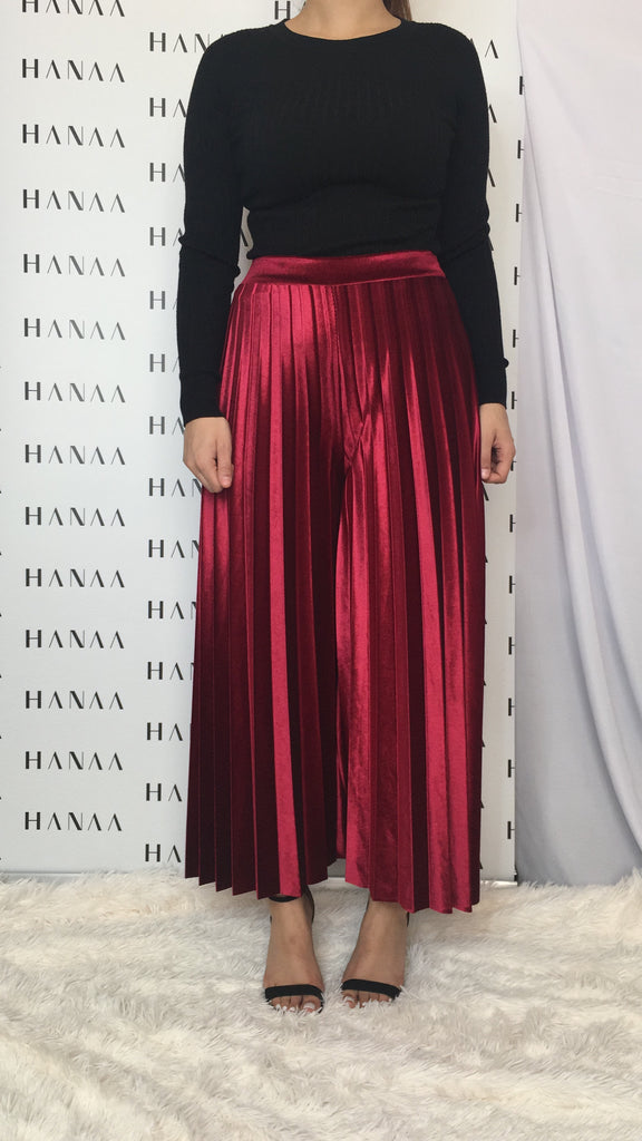 VELVET PLEAT TROUSERS - Burgundy