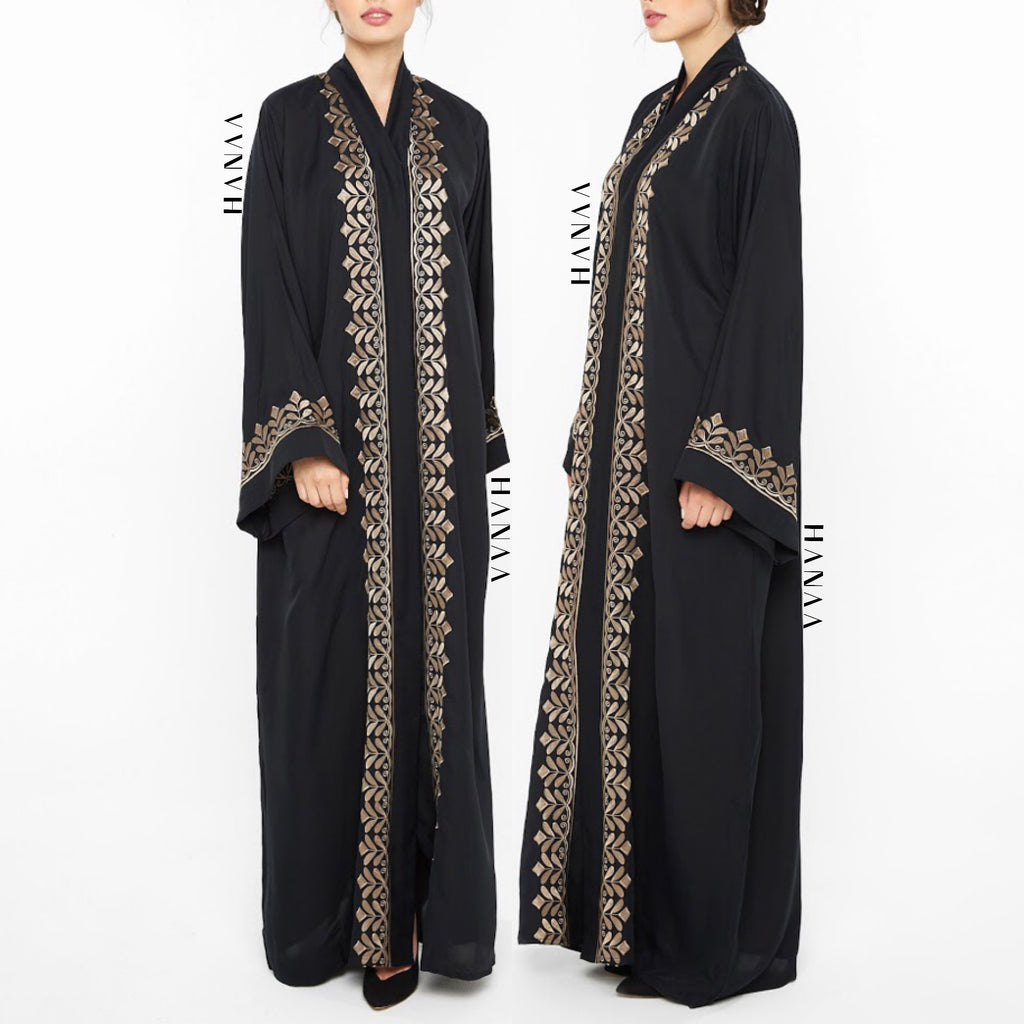 Hasinah Embroidered Open Abaya