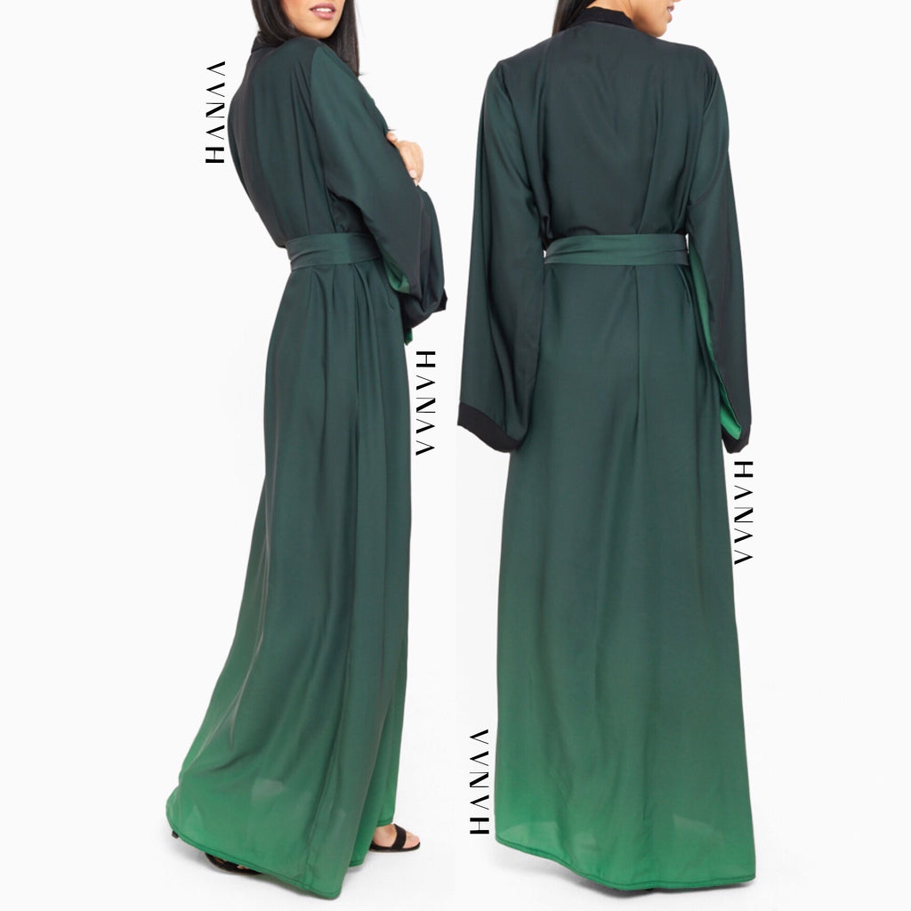 Ombre Silk Open Wrap Abaya - Green