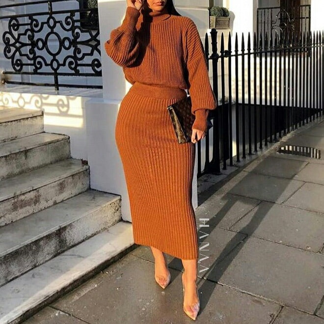 ROLL NECK RIBBED CO ORD SET - Tan