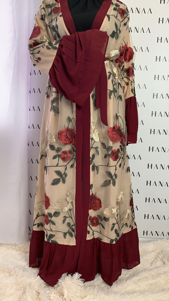 Ailah Floral Embroidery Open Abaya - Burgundy - RTD