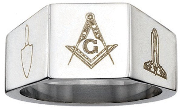 12mm Stainless Steel Masonic Blue Lodge Ring
