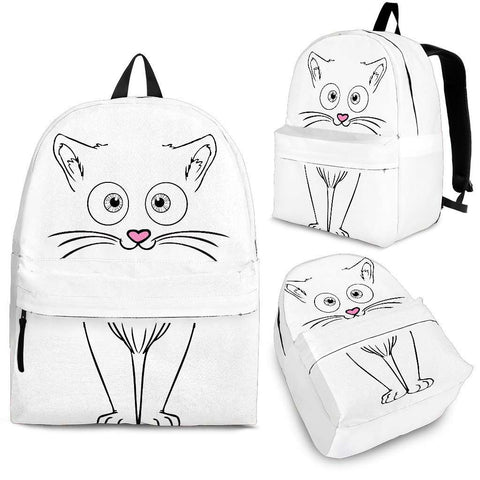 White Cute Cat Backpack