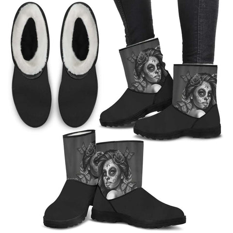 Image of Calavera Black Faux Boots