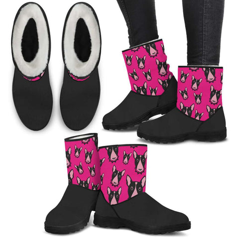 Bull Terrier Face Faux Boots