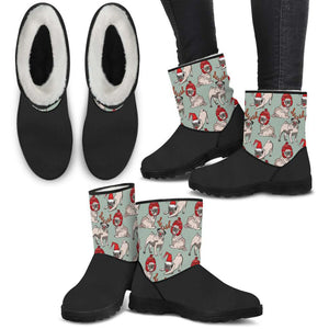 Pug Christmas Faux Boots