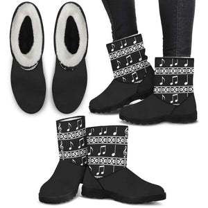 Musical Notes Faux Boots