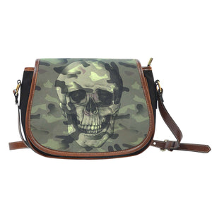 Camo Skull Black Canvas PU Trim Saddle Bag