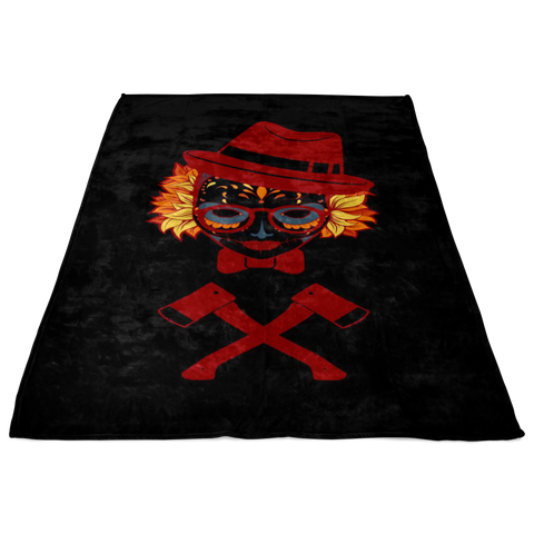 Image of Colorful Skull Girl Wearing A Fedora And With Two Axes Under Her Fleece Blanket