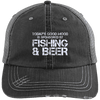 Fishing And Beer Distressed Unstructured Trucker Cap
