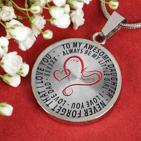 Image of To My Awesome Daughter I Love You Love Dad Necklace