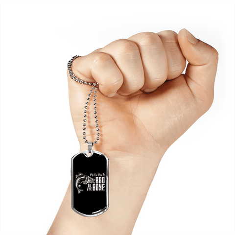 Image of My Old Man Is Bad To The Bone Luxury Dog Tag