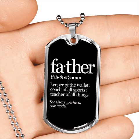 Image of Father Noun Luxury Dog Tag