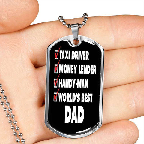 Funny Worlds Best Dad Dog Tag Necklace