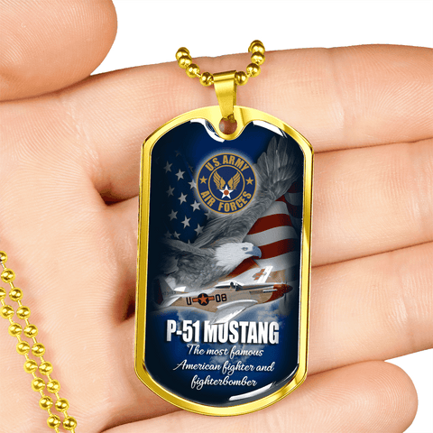 P 51 Mustang Luxury Dog Tag
