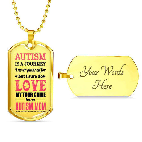 Image of Autism Mom Dog Tag Necklace
