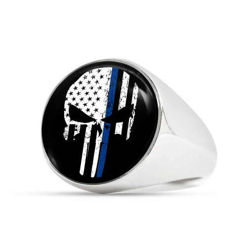 Thin Blue Line Punisher Skull Police Signet Ring