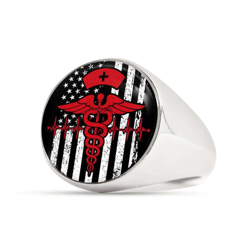 Image of Nurse Flag Symbol Signet Ring