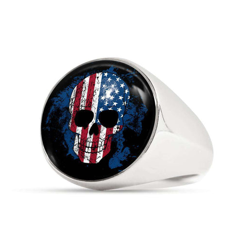 Skull USA Flag Signet Ring