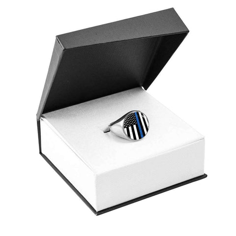 Image of Thin Blue Line Police Flag Signet Ring