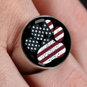 USA Dog Paw Flag Signet Ring