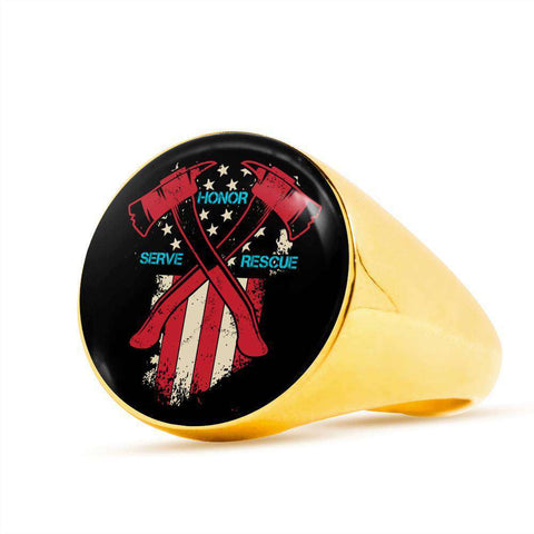 Firefighter Honor Serve Rescue Signet Ring