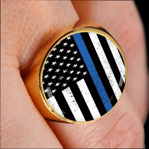 Thin Blue Line Police Flag Signet Ring