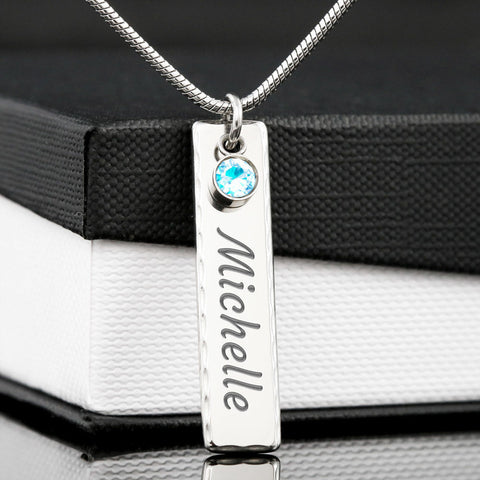 Image of Personalized Valentines Day Birthstone Name Necklace