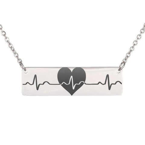 U.S.A. Free Plus Shipping Heart Beat Horizontal Bar Necklaces