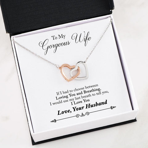 Wife Christmas gift Interlocking Heart Necklaces Love Your Husband, Husband To Wife Gift,Wife Birthday Gift,Wife Christmas Gift from Husband