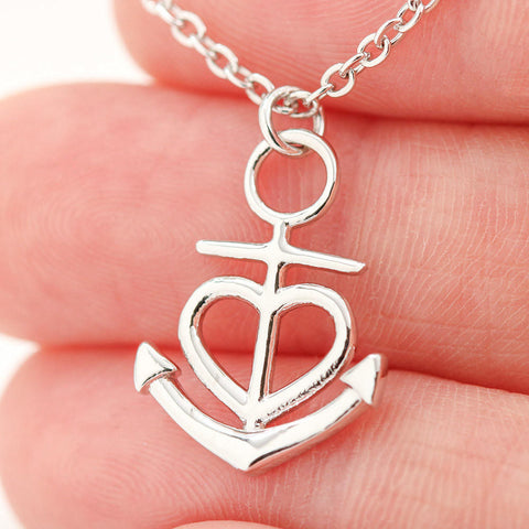 Image of To My Gorgeous Wife Heart Friendship Anchor Necklace Love Your Husband, Husband To Wife Gift,Wife Birthday Gift,Wife Christmas Gift from Husband