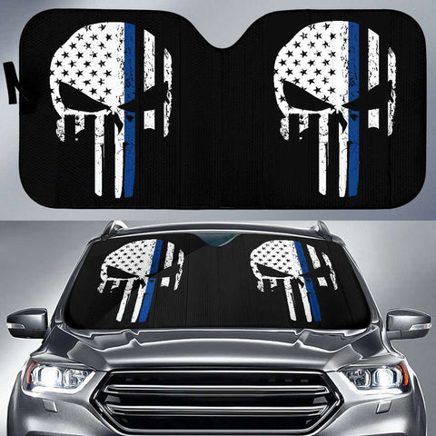 Thin Blue Line Punisher Skull Police Auto Sun Car Shades