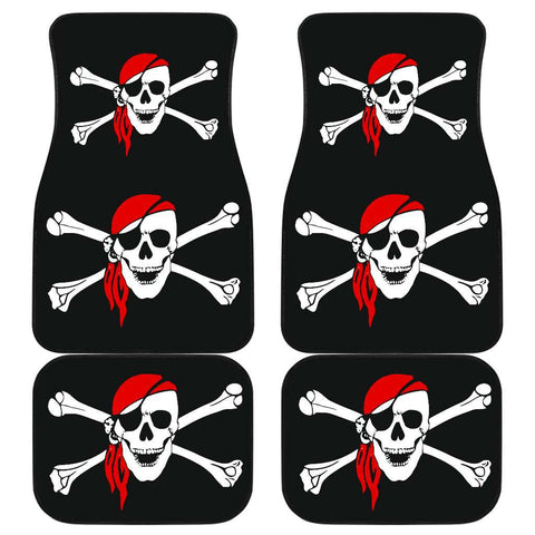 Pirate Skull And Crossbones Front And Back Car Mats (Set Of 4)